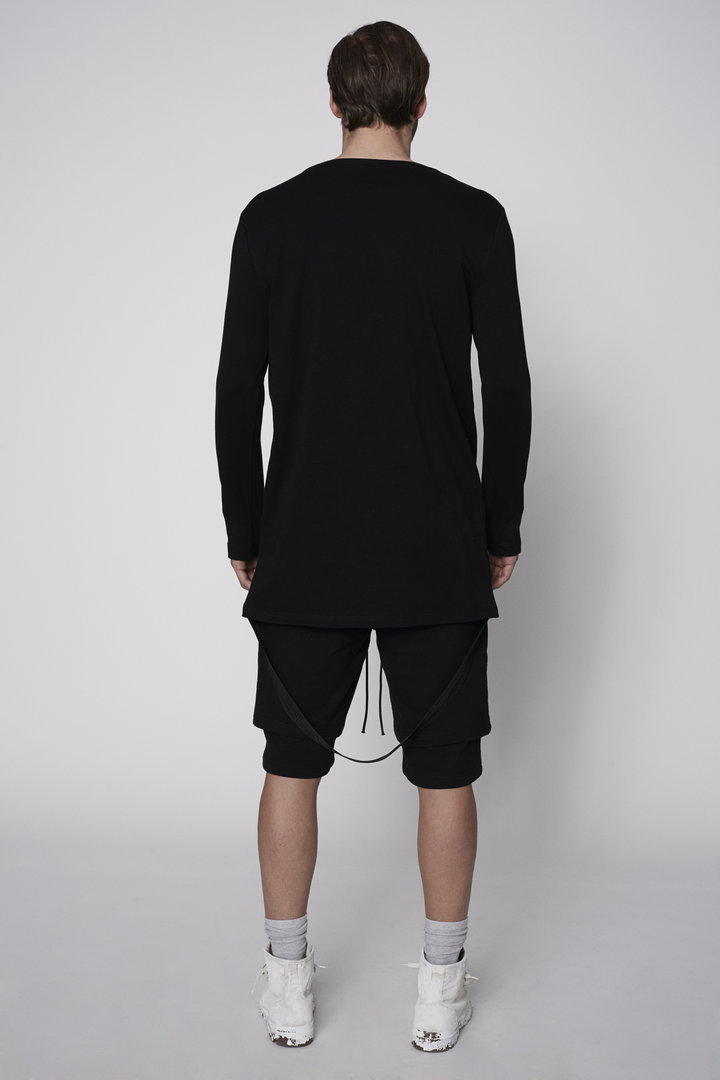 KHND STUDIOS T-SHIRT BLACK  LS  WITH BACK CANVAS STRAP
