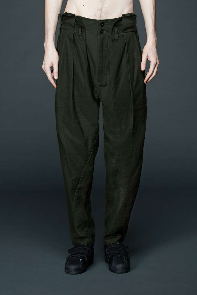 4f6a539546 PRE-ORDER (ESTIMATED DELIVERY 30-SEP) INDICE STUDIO OLIVE OLIVE PLEATED  WIDE TROUSERS