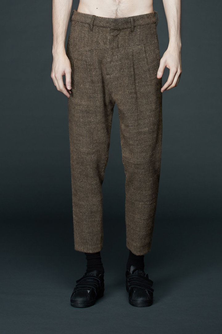 INDICE STUDIO BROWN SLIM CROPPED TROUSERS