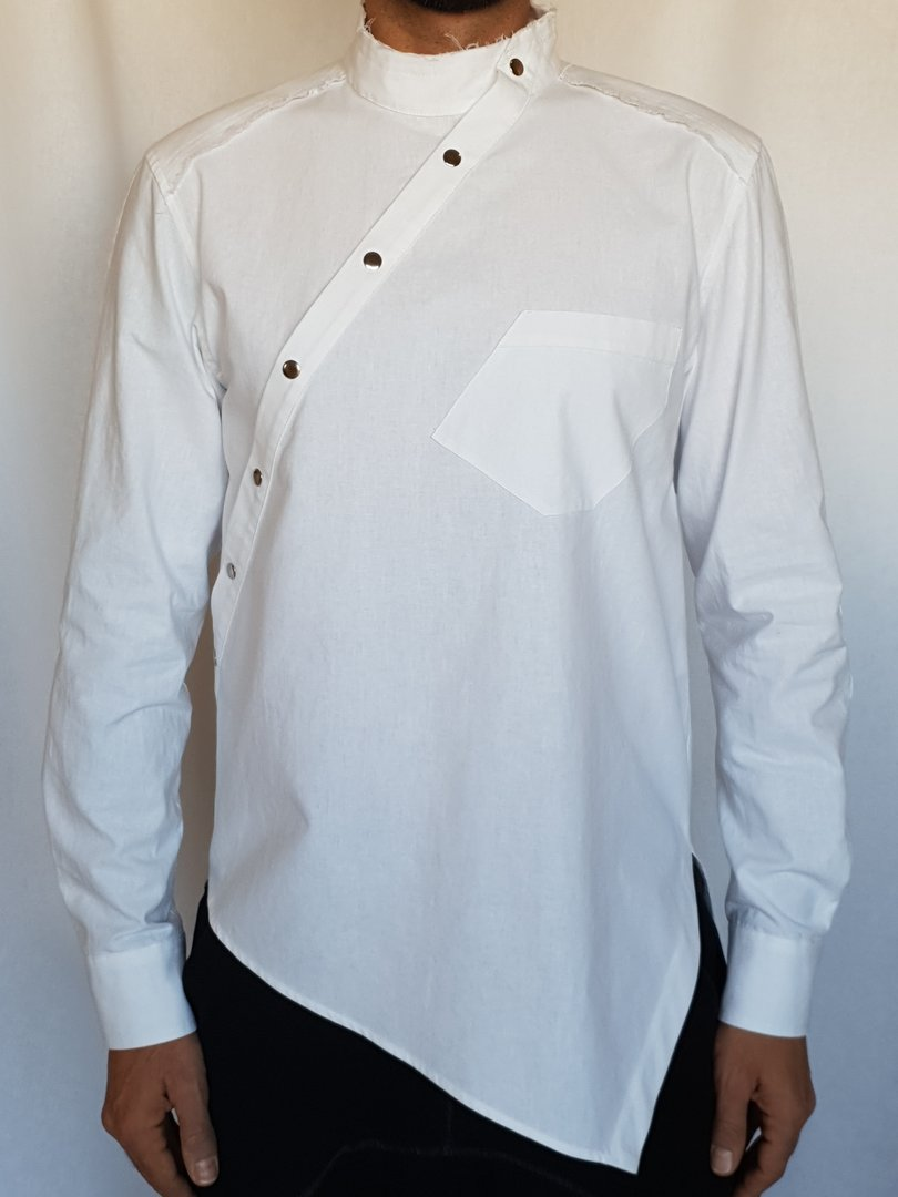 DARK ARMY by Tray Styling VERTICAL SHIRT WHITE