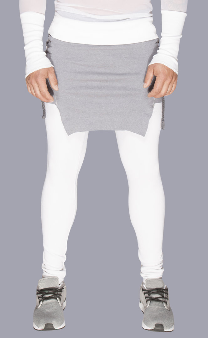 TRAY STYLING DOUBLE-PANTS WHITE/GREY