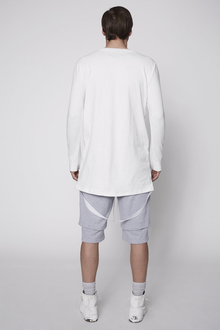 KHND STUDIOS T-SHIRT WHITE  LS  WITH BACK CANVAS STRAP