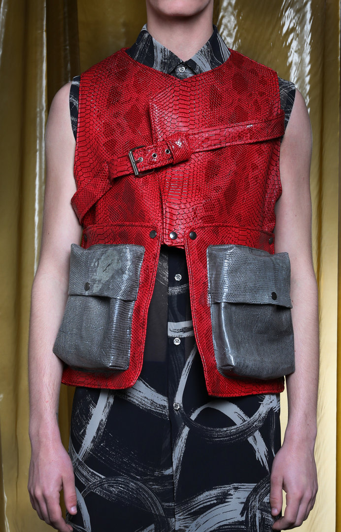 VISORI ECO-LEATHER ARMY VEST