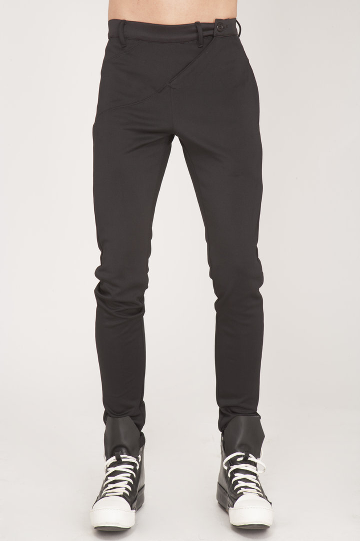 TRAY STYLING PANTS VERTICAL SLIM FIT BLACK