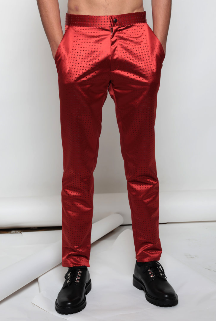 VISORI RED SATIN TROUSER