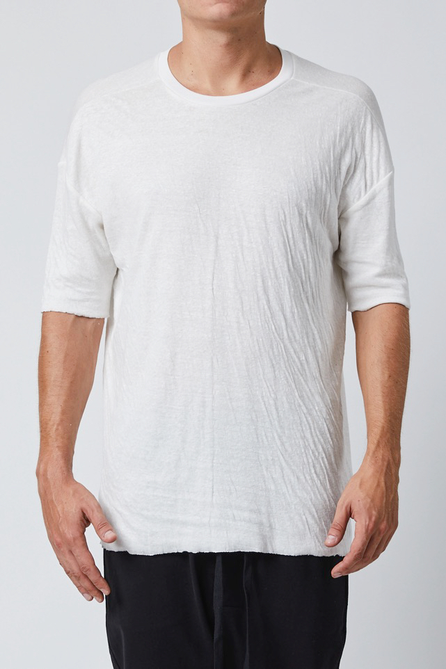 THOM KROM COMBINED LINEN OFFWHITE T-SHIRT
