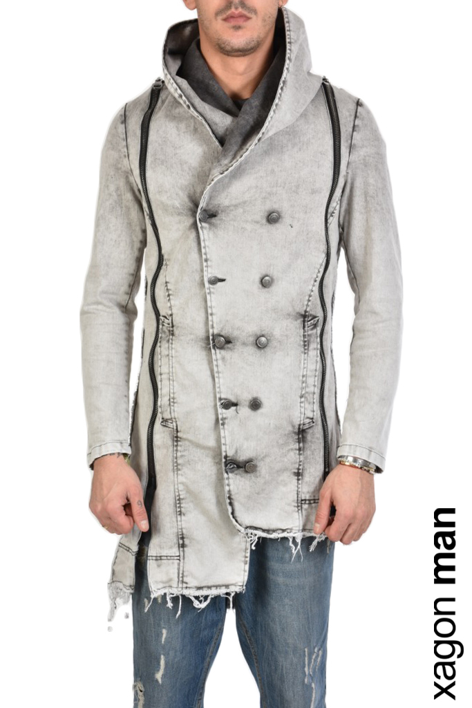 XAGON DETACHABLE GREY DENIM COAT