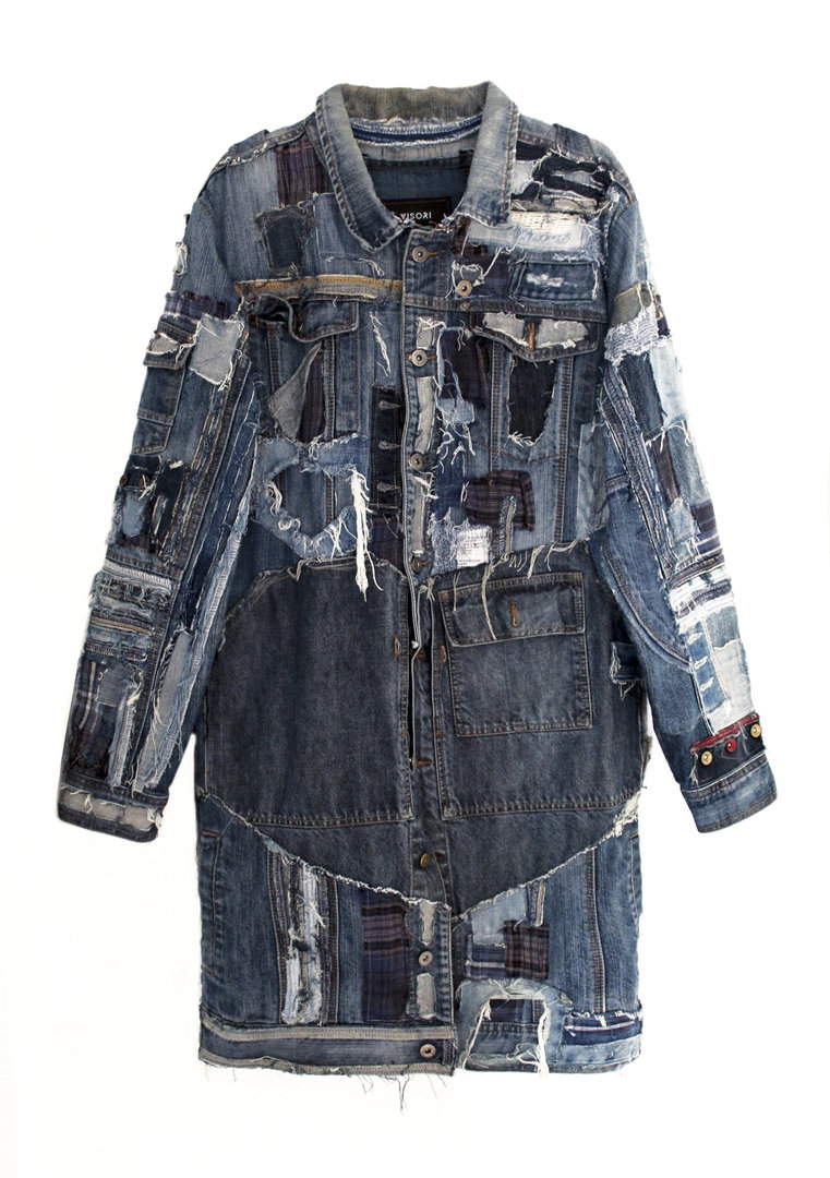 VISORI STUDIO PATCHWORK DENIM LARGE JACKET