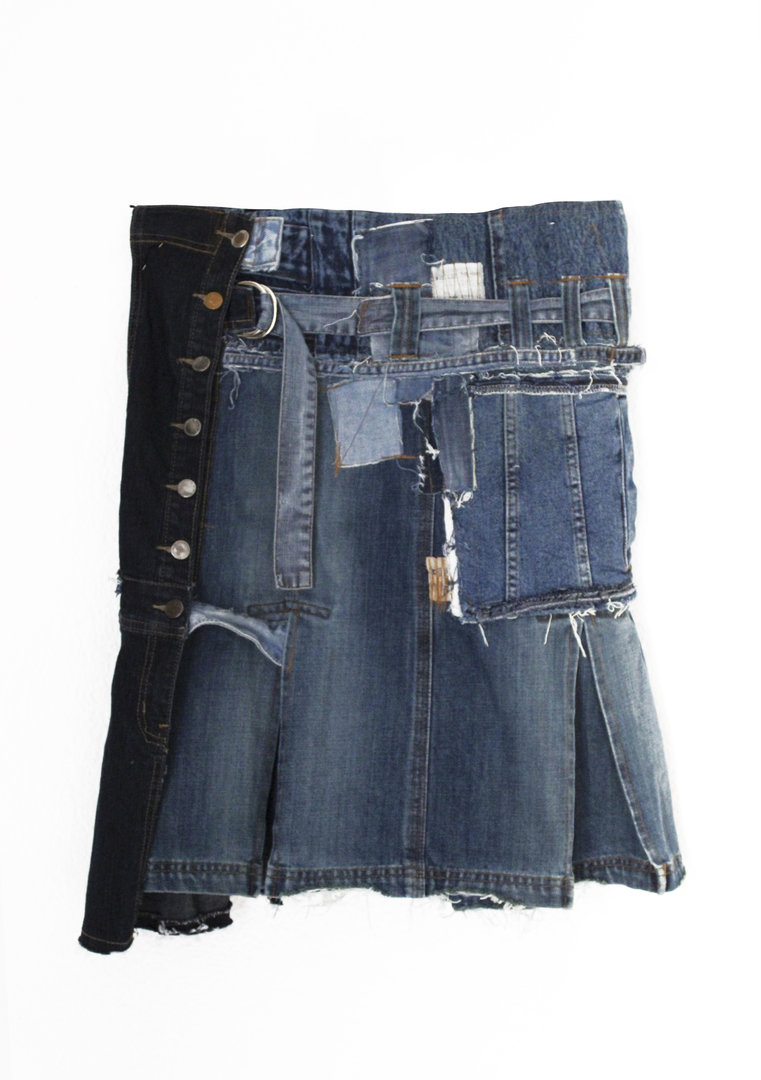 VISORI STUDIO PATCHWORK DENIM MAN SKIRT