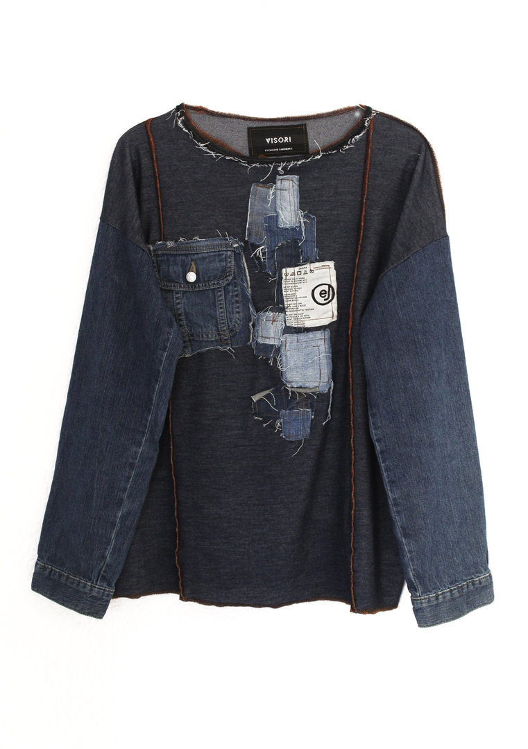 VISORI STUDIO SWEATER DENIM SLEEVES