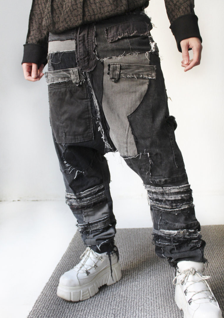 VISORI STUDIO PATCHWORK DENIM-RECYCLE PANTS